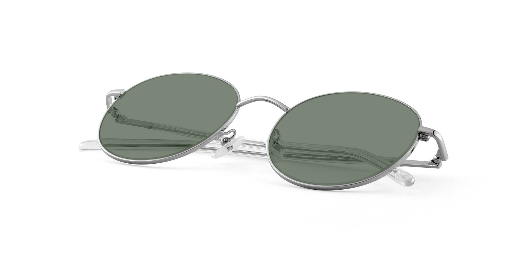 View of Cosmos in Silver with Medium Green Tinted Lenses