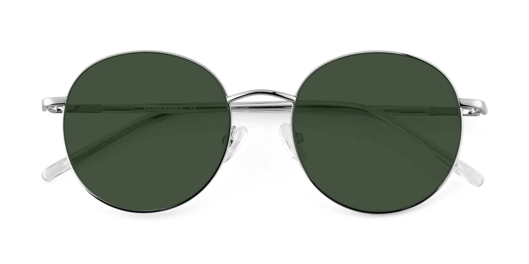 Folded Front of Cosmos in Silver with Green Tinted Lenses