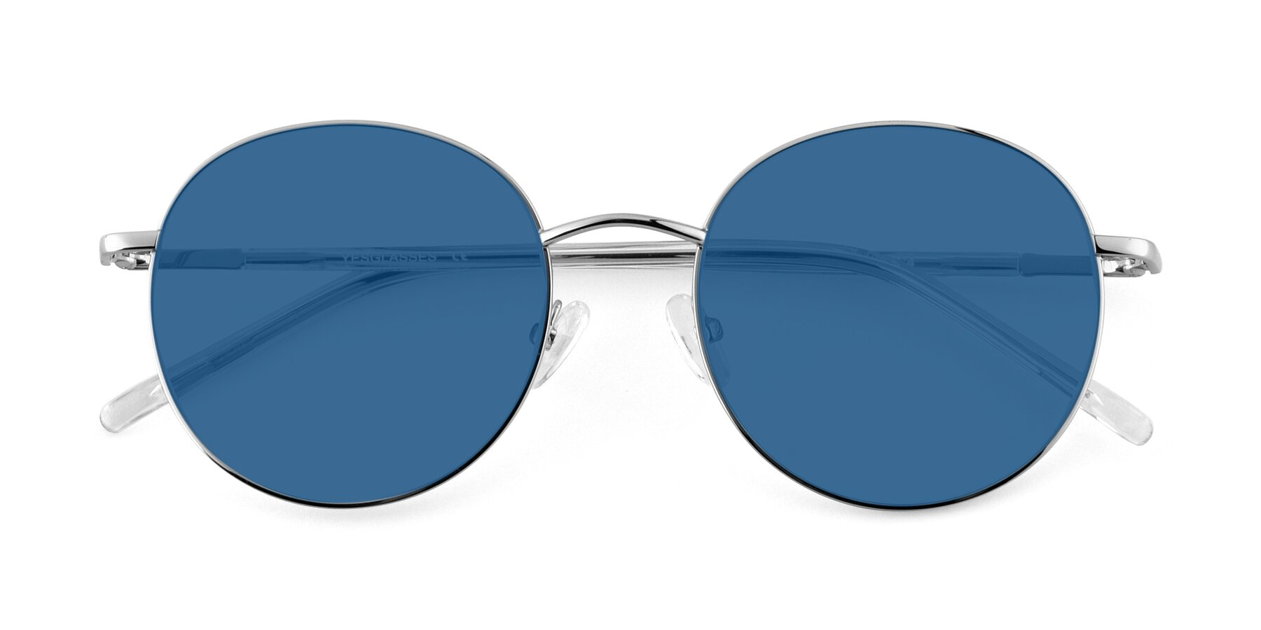 Folded Front of Cosmos in Silver with Blue Tinted Lenses