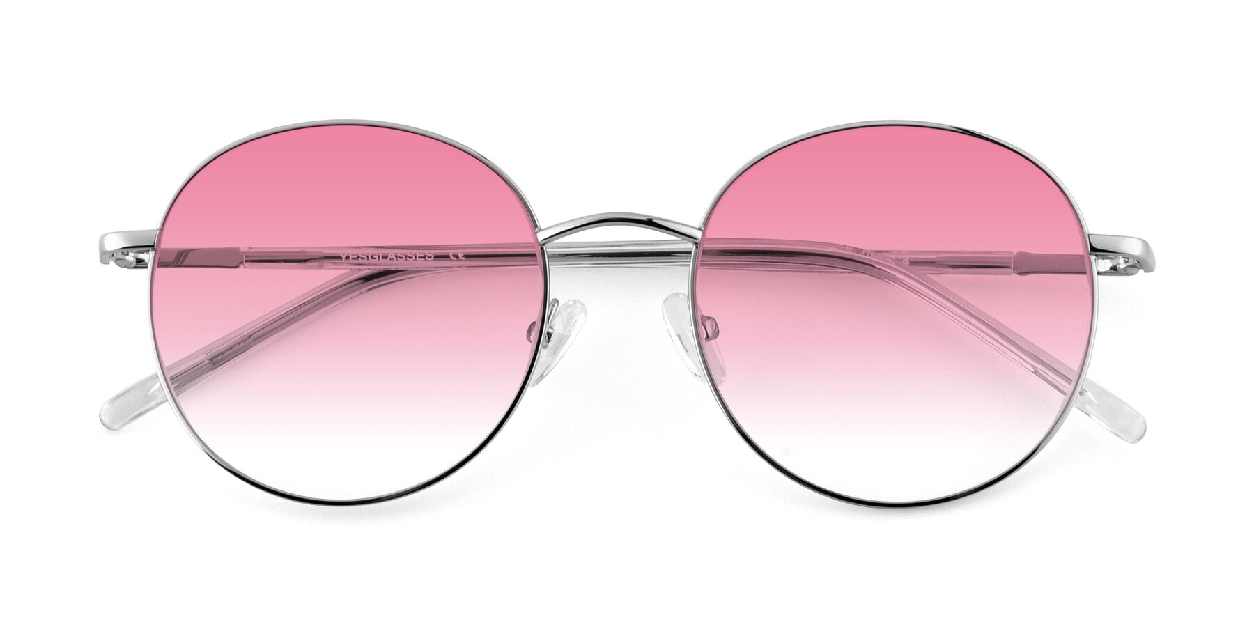 Folded Front of Cosmos in Silver with Pink Gradient Lenses