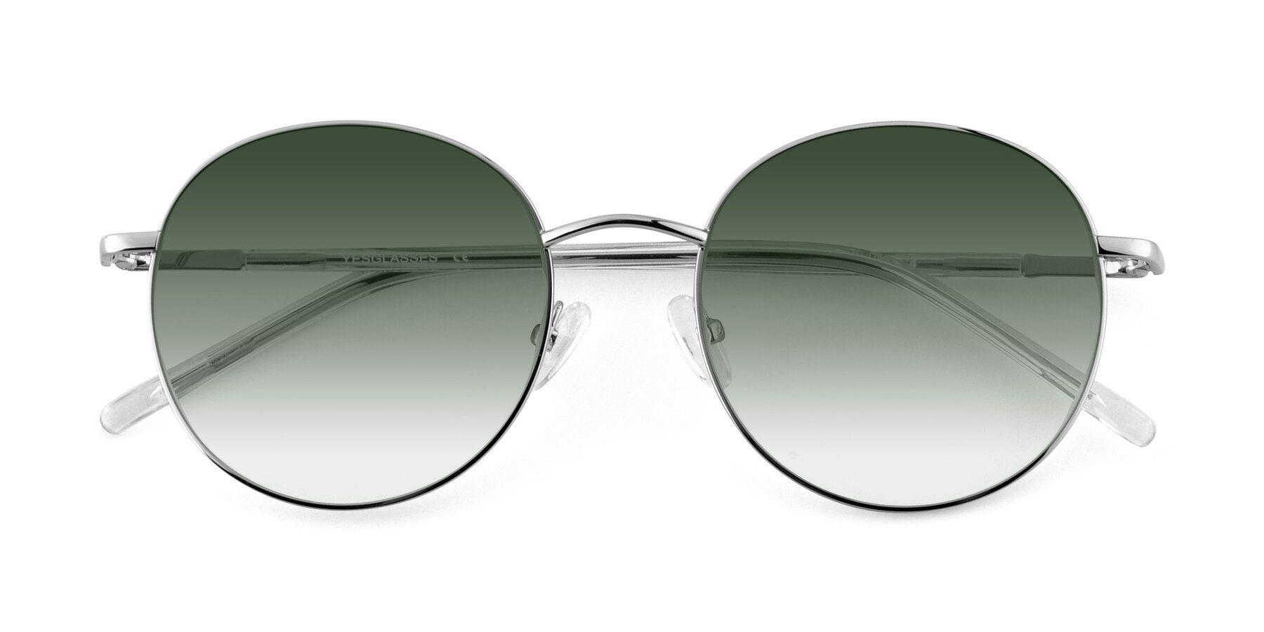 Folded Front of Cosmos in Silver with Green Gradient Lenses