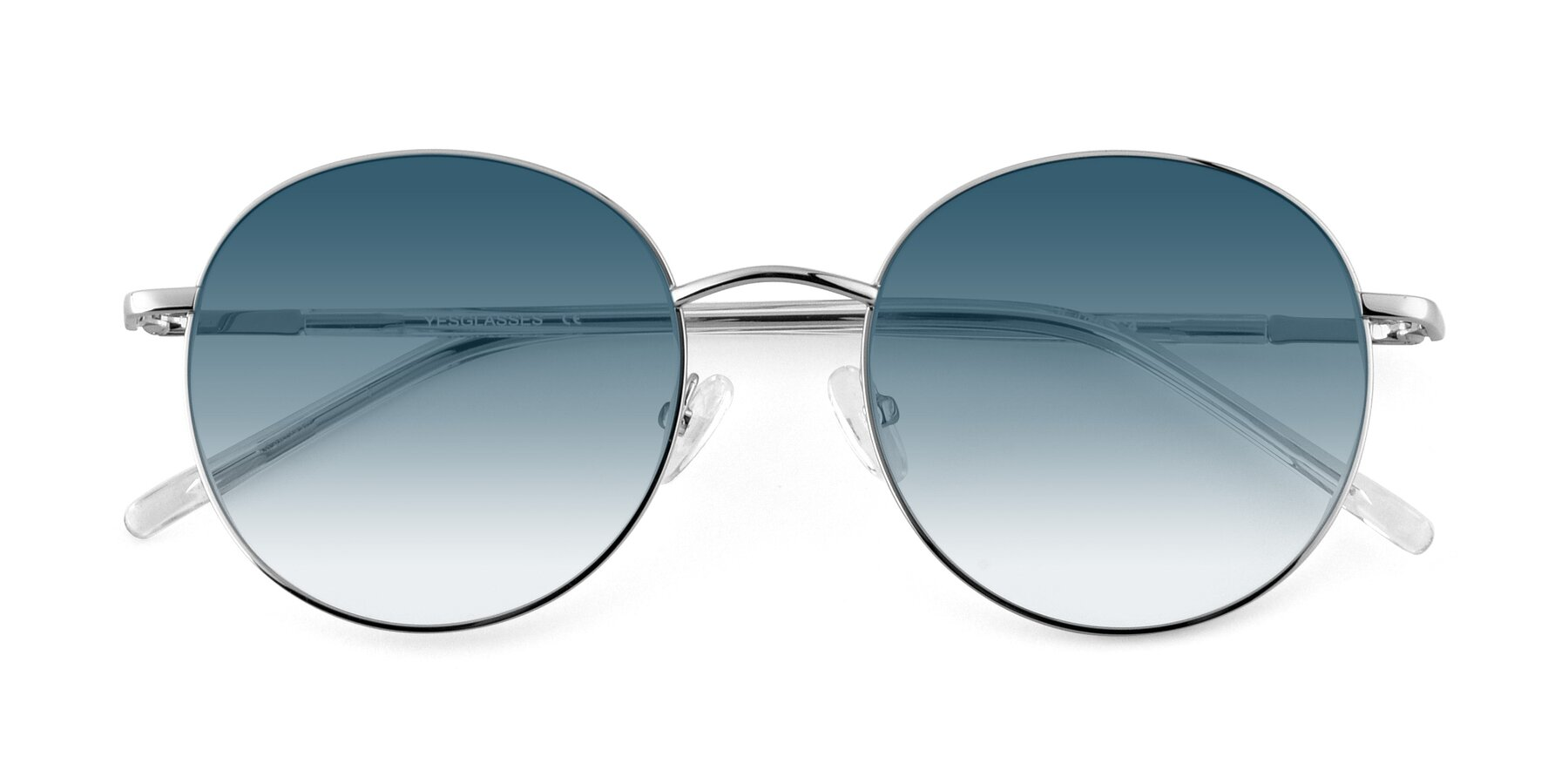 Folded Front of Cosmos in Silver with Blue Gradient Lenses