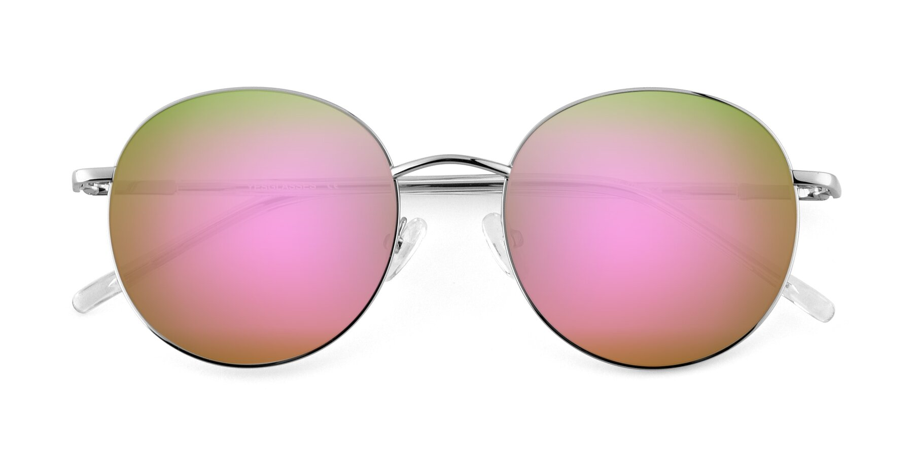Folded Front of Cosmos in Silver with Pink Mirrored Lenses