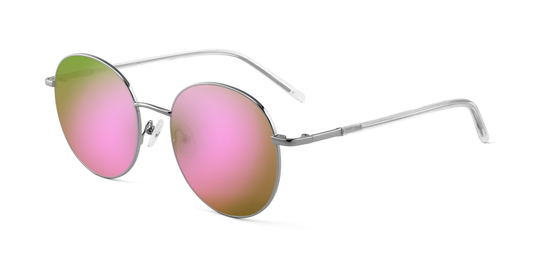 Angle of Cosmos in Silver with Pink Mirrored Lenses