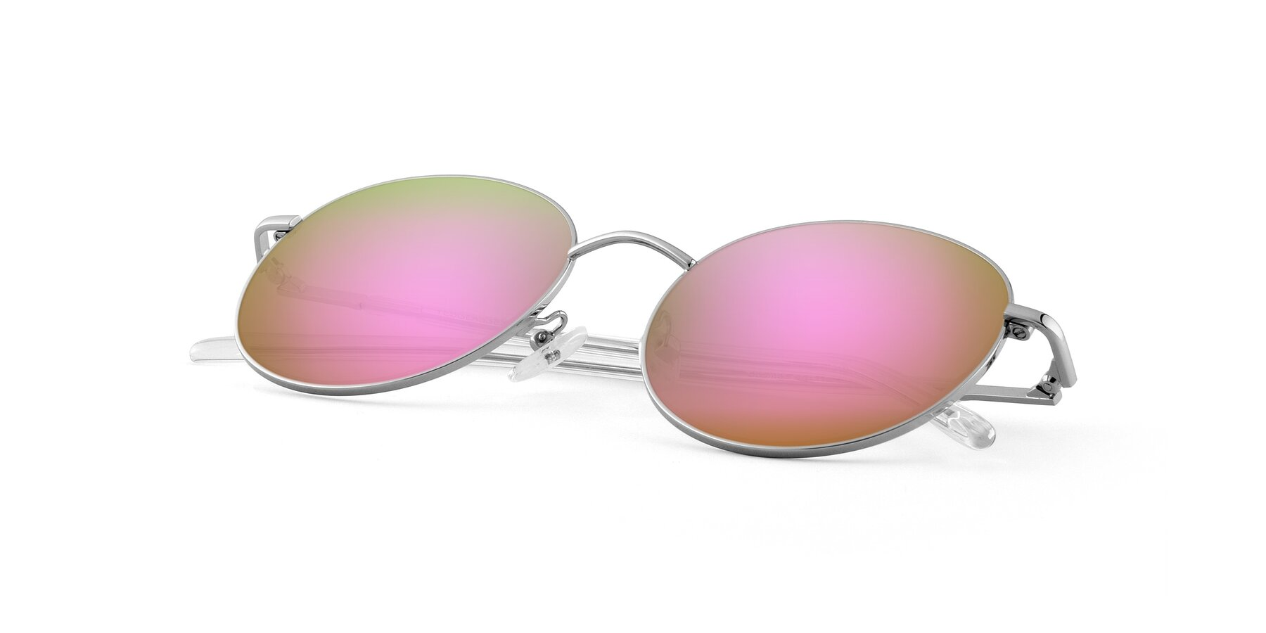 View of Cosmos in Silver with Pink Mirrored Lenses