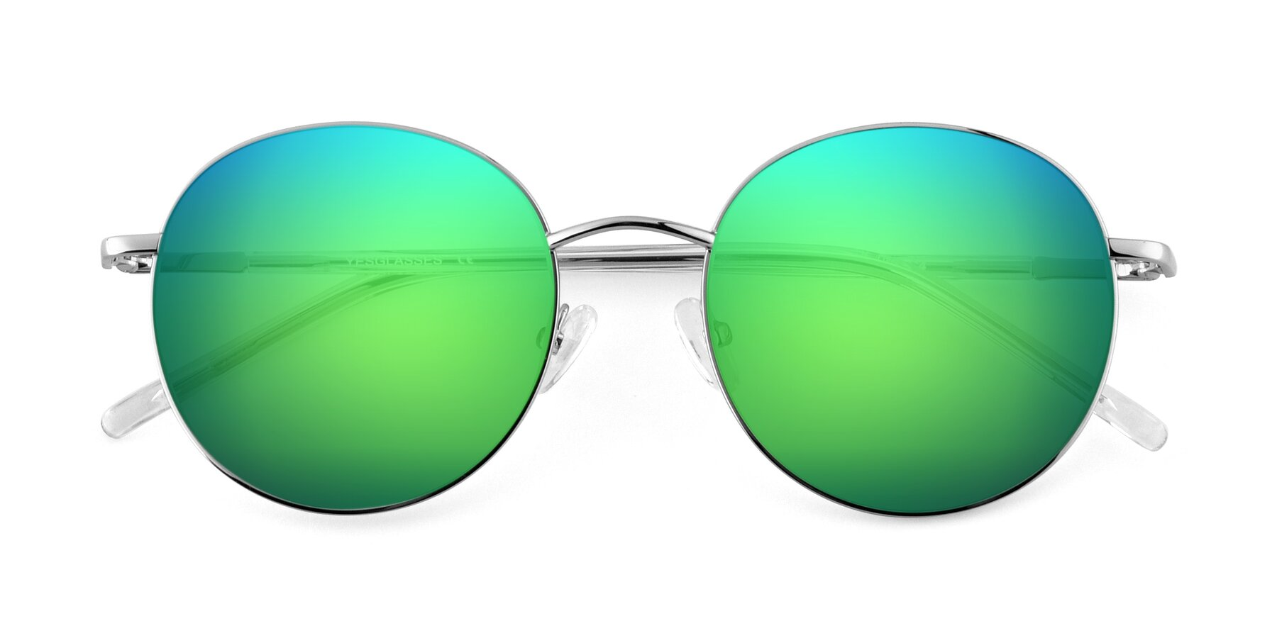 Folded Front of Cosmos in Silver with Green Mirrored Lenses