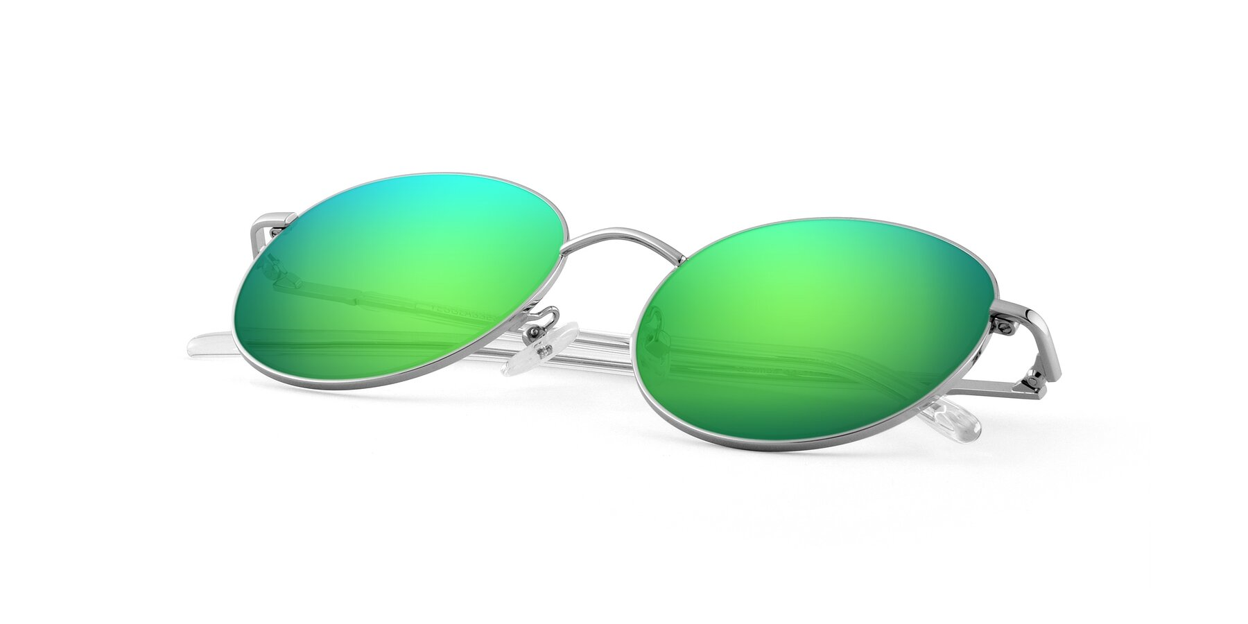 View of Cosmos in Silver with Green Mirrored Lenses