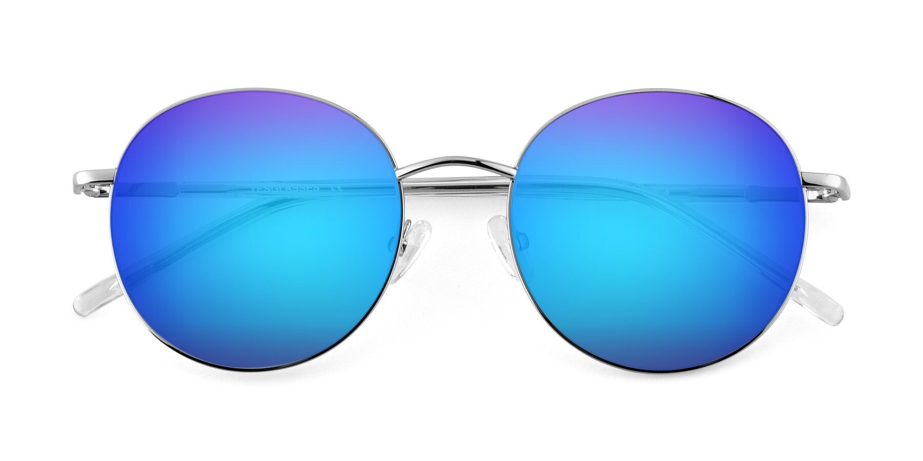 Folded Front of Cosmos in Silver with Blue Mirrored Lenses