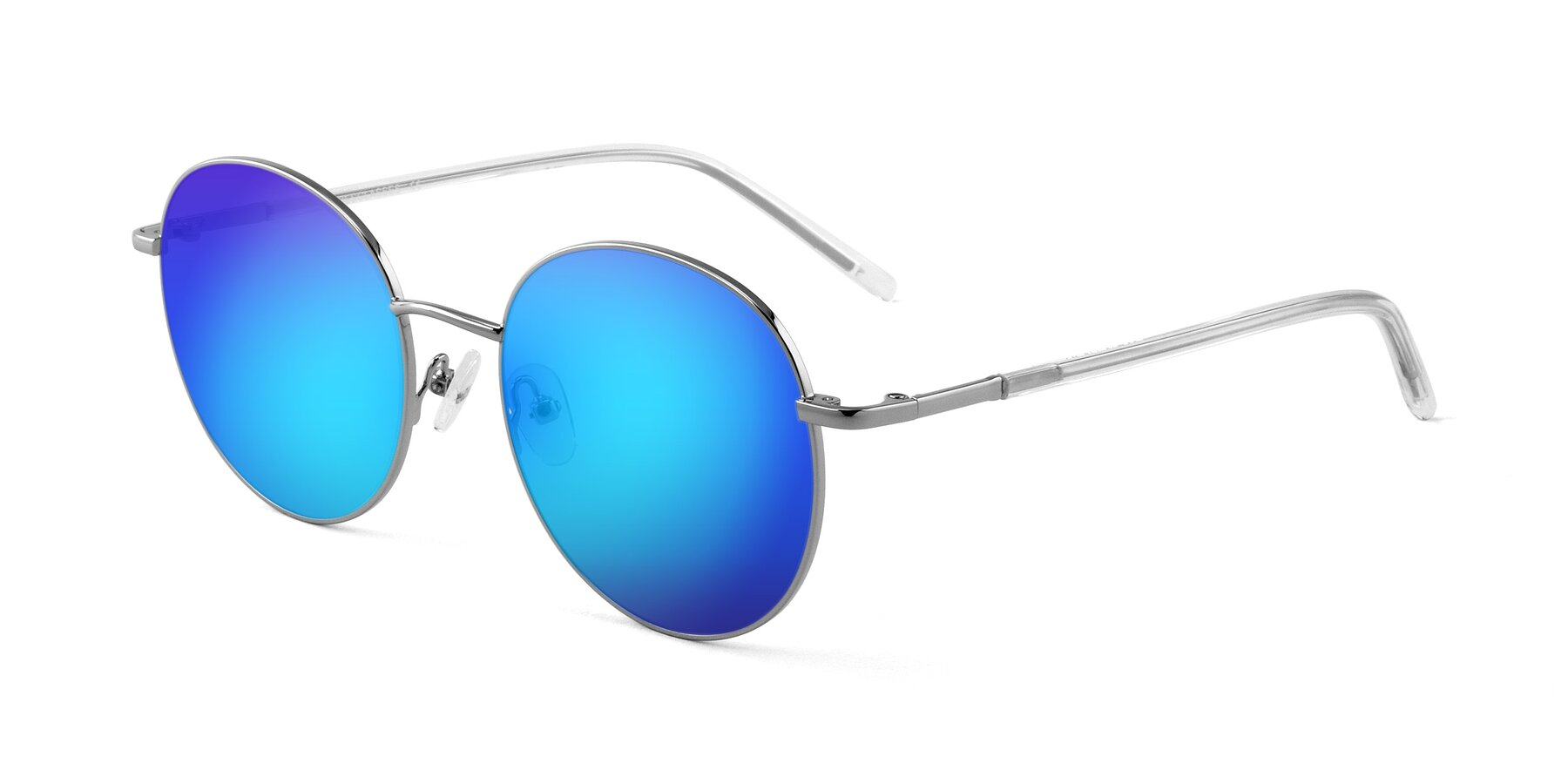 Angle of Cosmos in Silver with Blue Mirrored Lenses