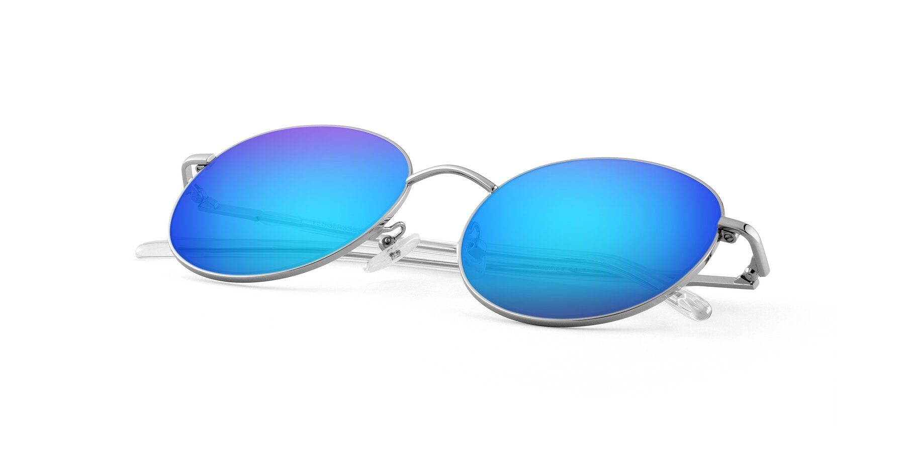 View of Cosmos in Silver with Blue Mirrored Lenses