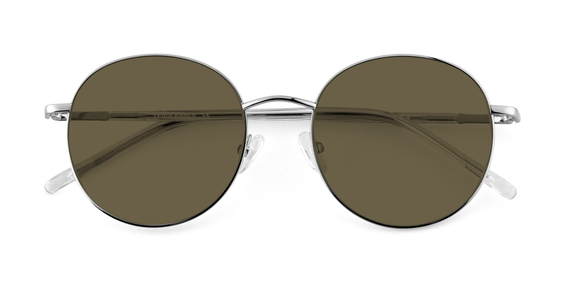 Folded Front of Cosmos in Silver with Brown Polarized Lenses