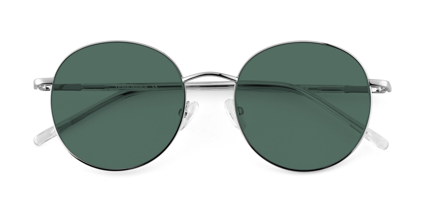 Folded Front of Cosmos in Silver with Green Polarized Lenses