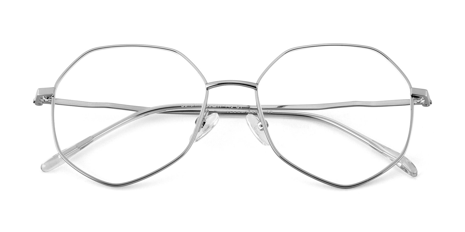 Folded Front of Sunshine in Silver with Clear Eyeglass Lenses