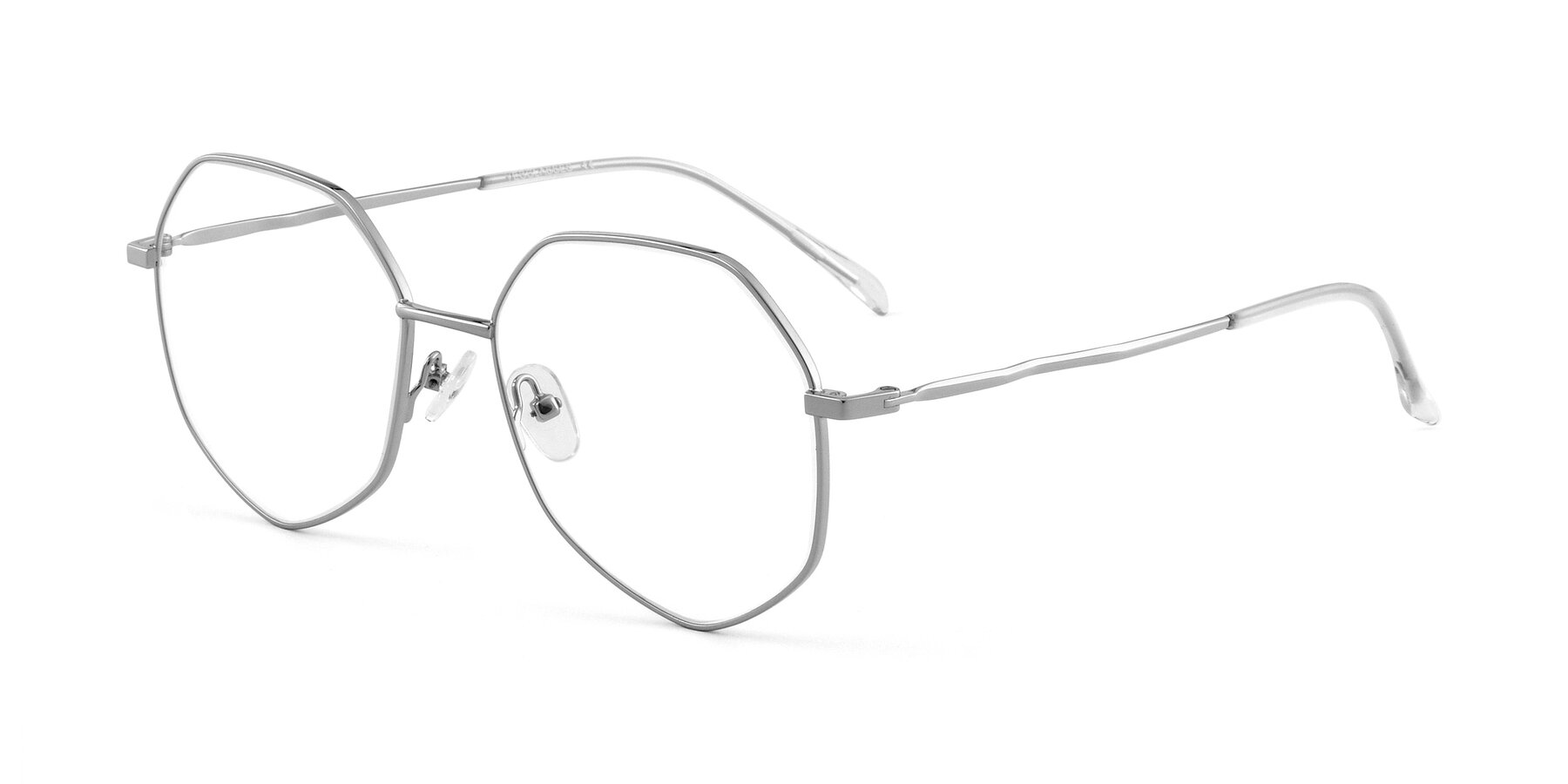 Angle of Sunshine in Silver with Clear Eyeglass Lenses
