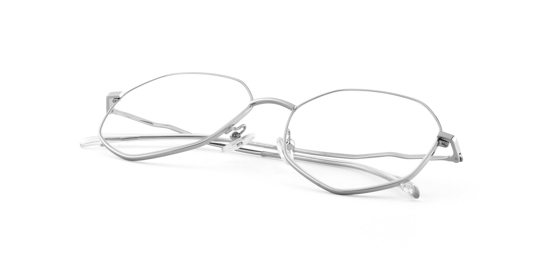View of Sunshine in Silver with Clear Eyeglass Lenses