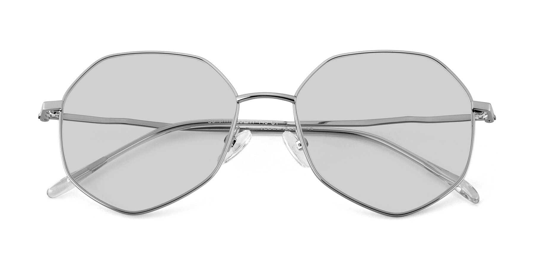 Folded Front of Sunshine in Sliver with Light Gray Tinted Lenses