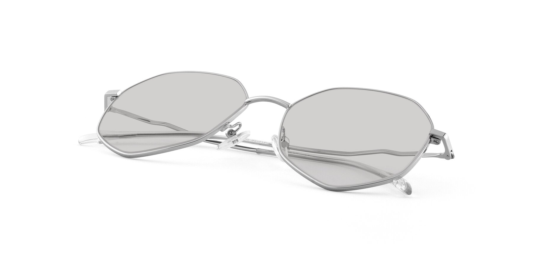 View of Sunshine in Silver with Light Gray Tinted Lenses