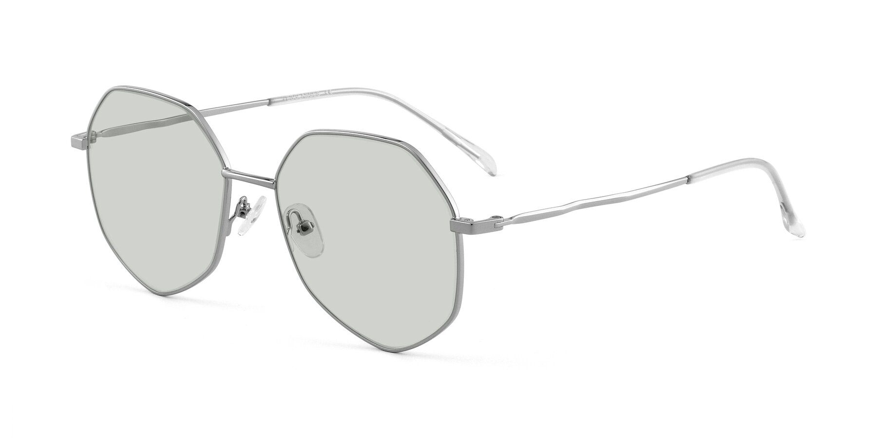 Angle of Sunshine in Silver with Light Green Tinted Lenses