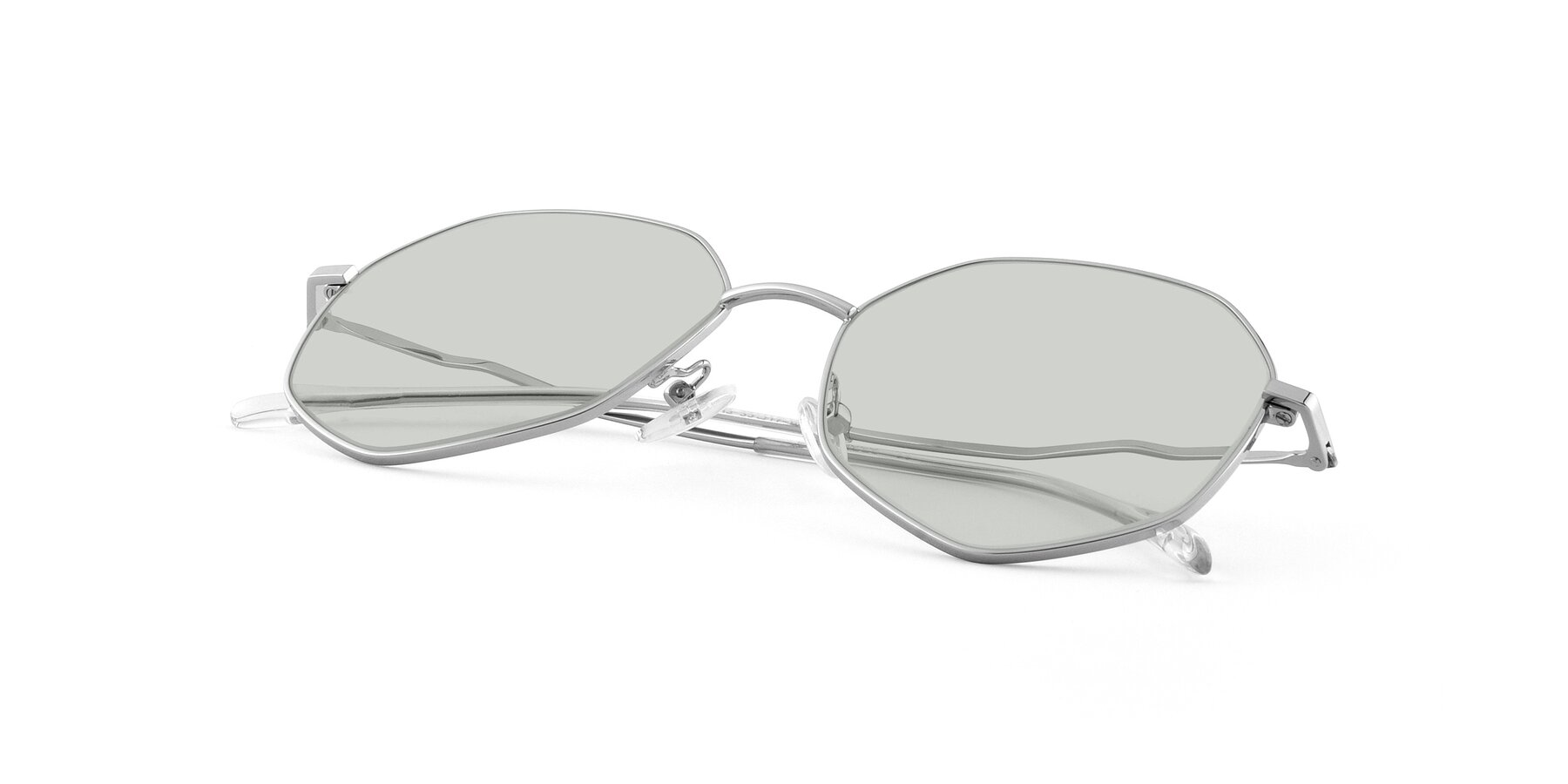 View of Sunshine in Silver with Light Green Tinted Lenses