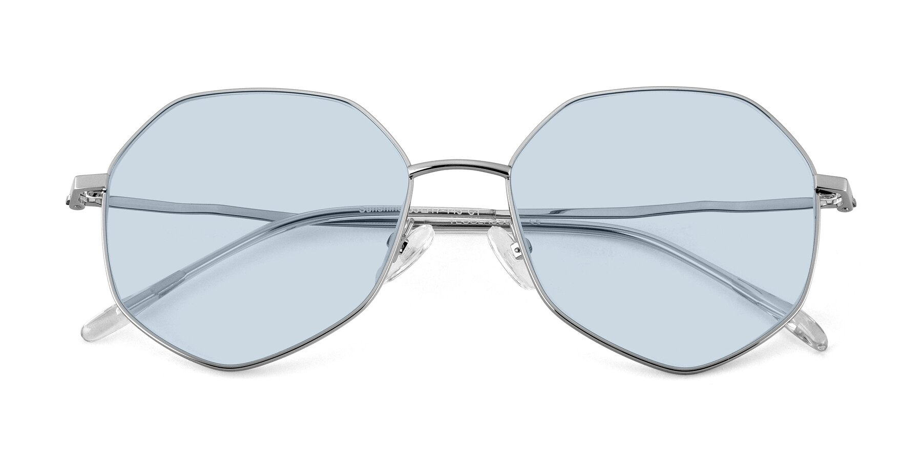 Folded Front of Sunshine in Silver with Light Blue Tinted Lenses