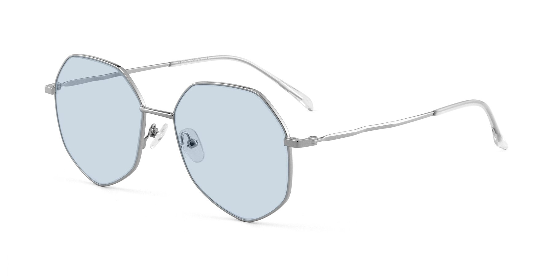 Angle of Sunshine in Silver with Light Blue Tinted Lenses