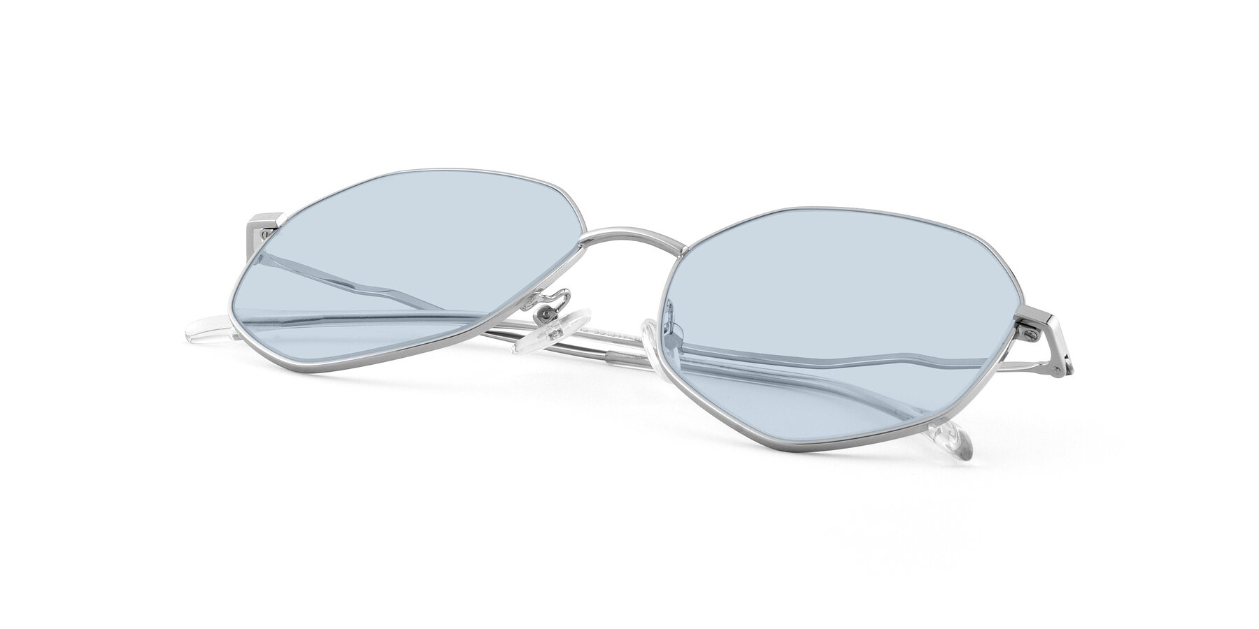 View of Sunshine in Silver with Light Blue Tinted Lenses