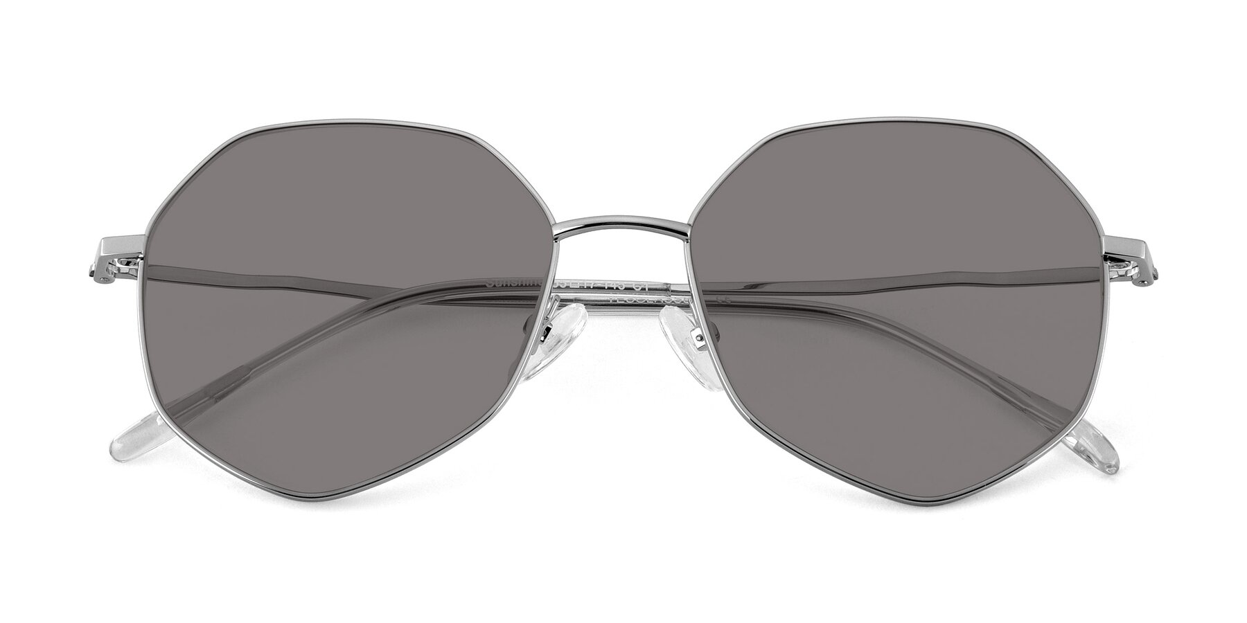 Folded Front of Sunshine in Silver with Medium Gray Tinted Lenses
