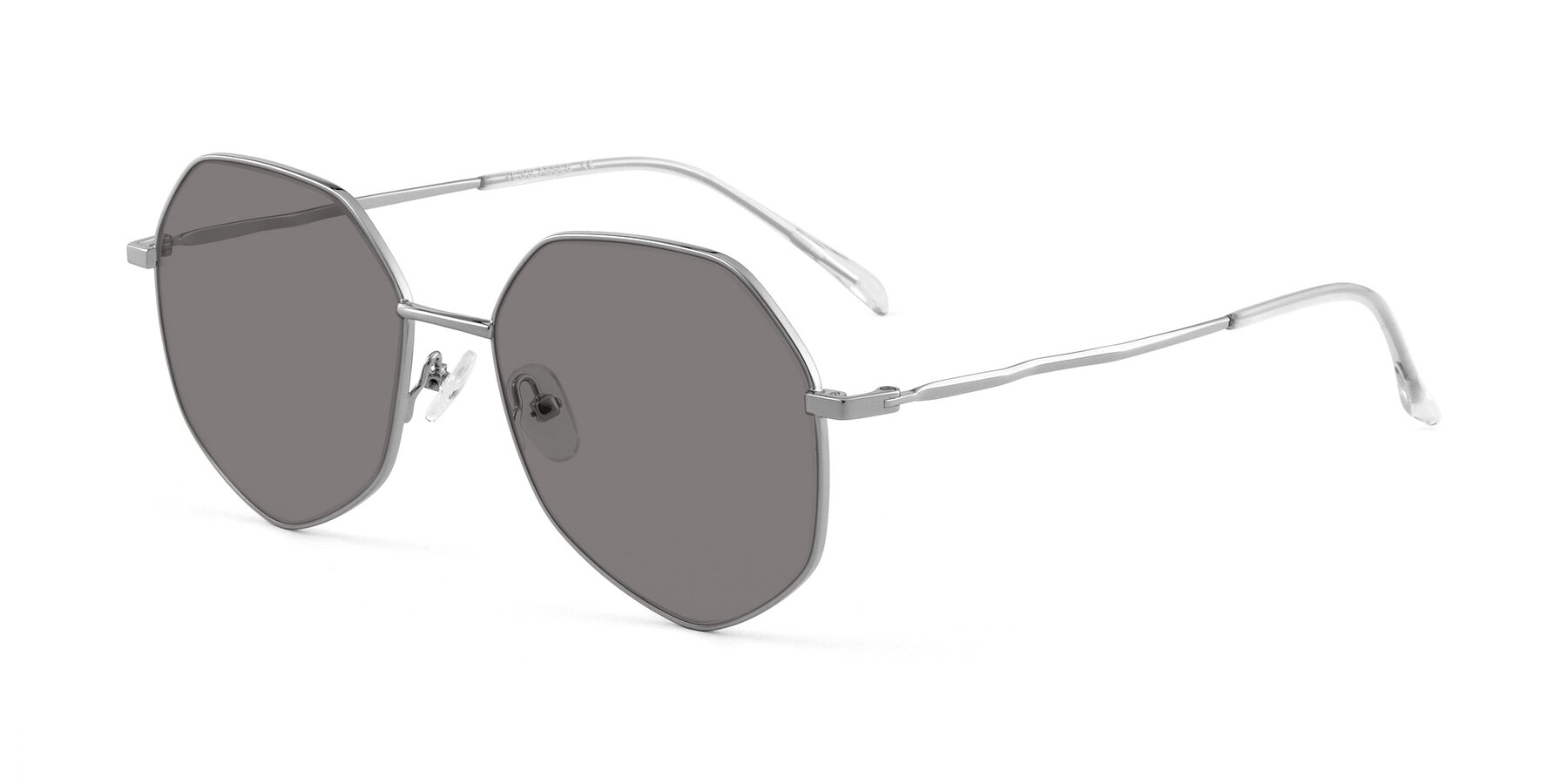 Angle of Sunshine in Silver with Medium Gray Tinted Lenses