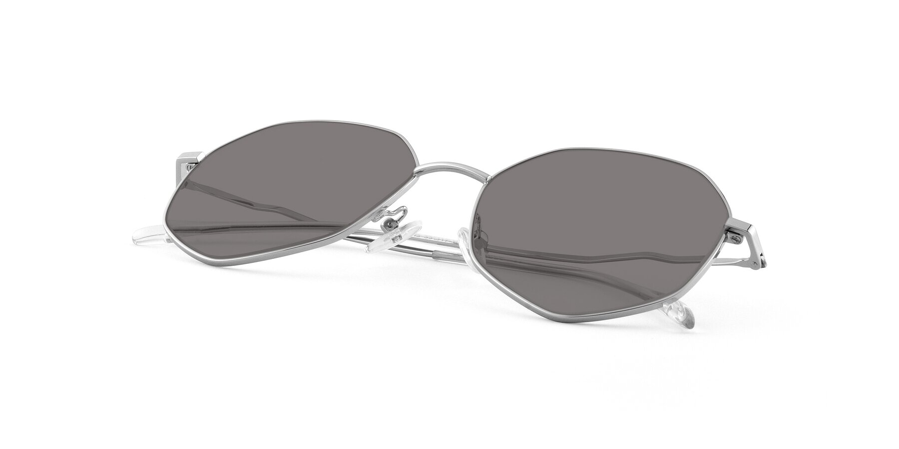 View of Sunshine in Silver with Medium Gray Tinted Lenses
