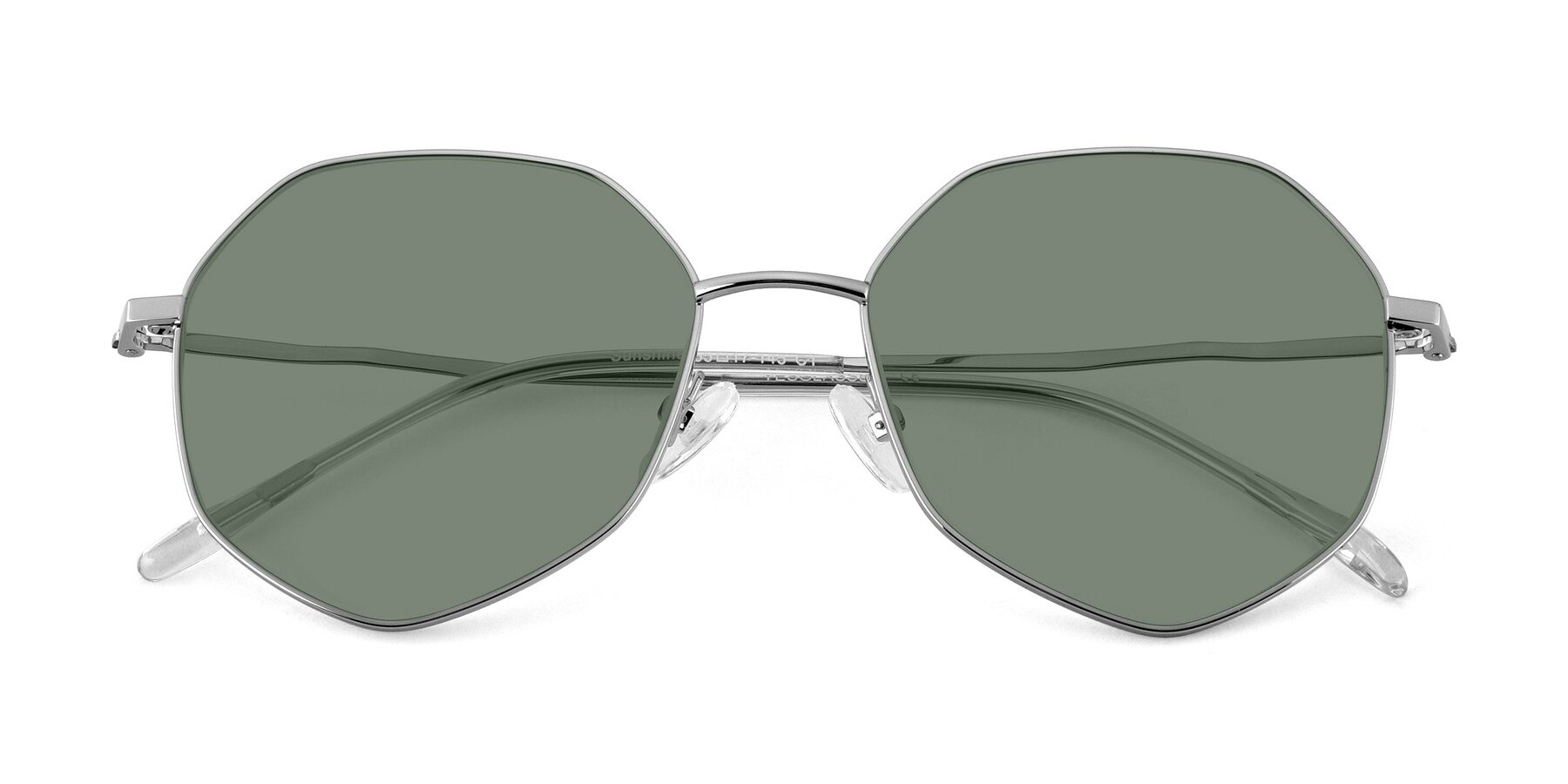 Folded Front of Sunshine in Silver with Medium Green Tinted Lenses