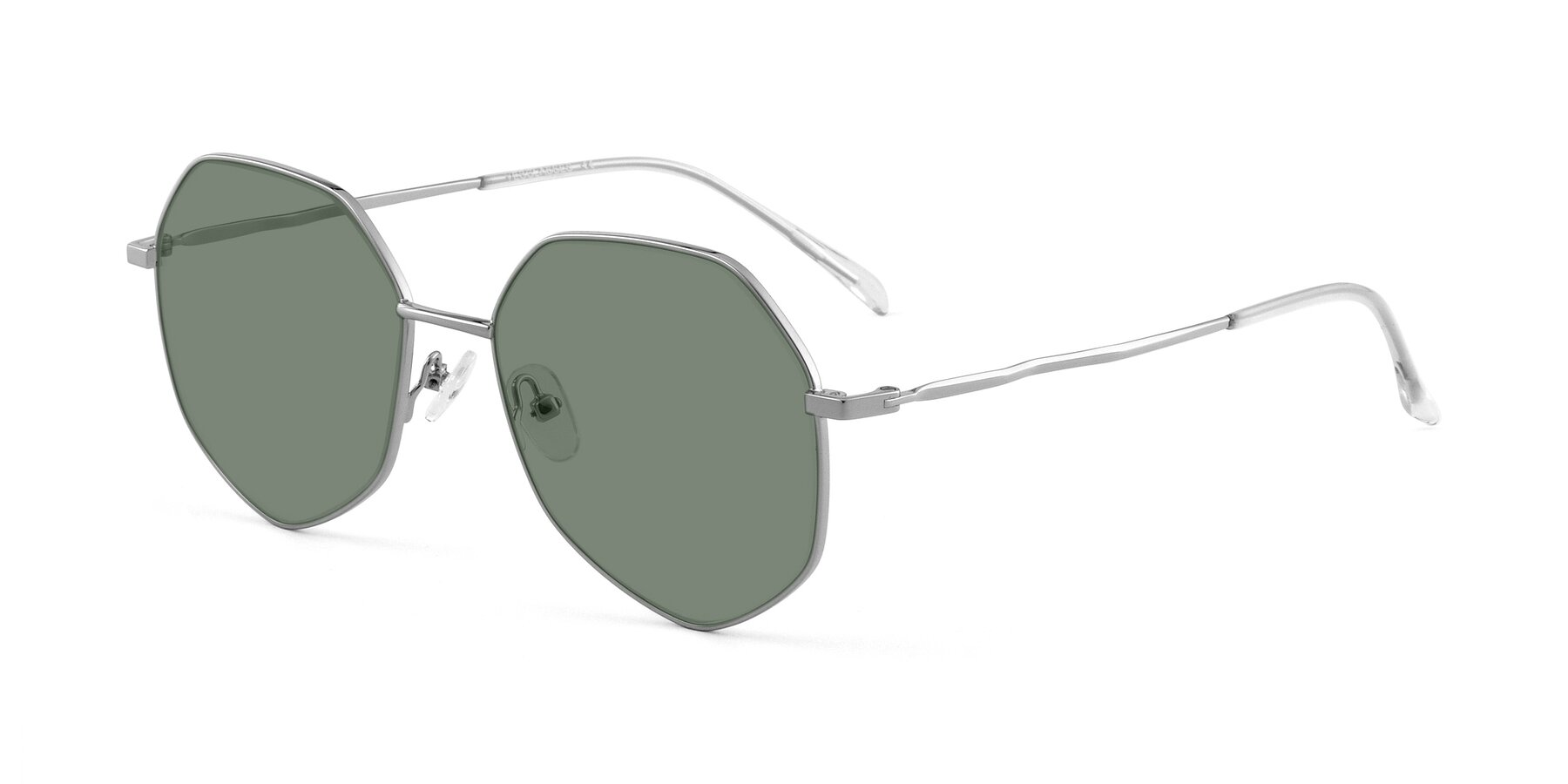 Angle of Sunshine in Silver with Medium Green Tinted Lenses