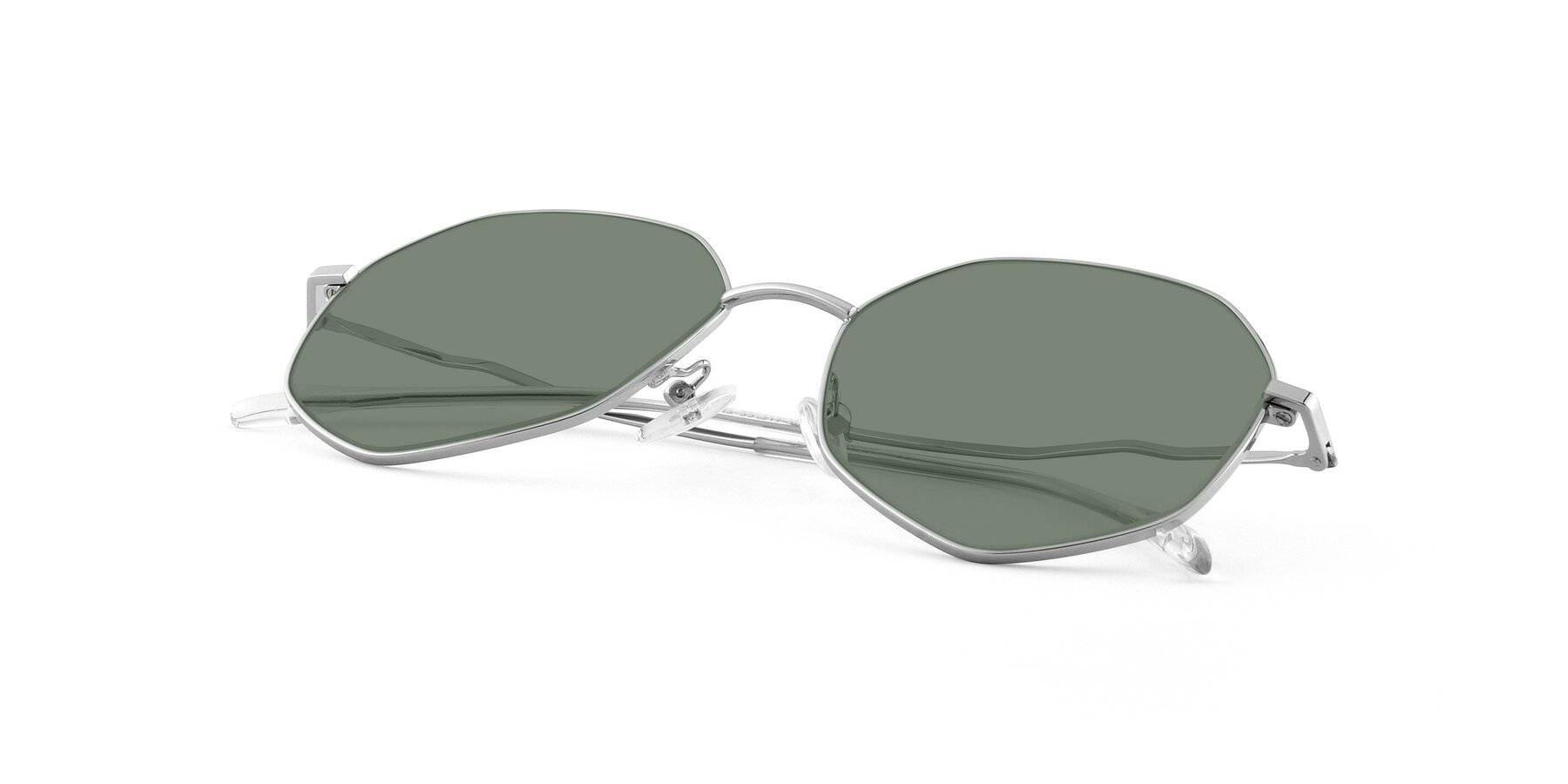View of Sunshine in Silver with Medium Green Tinted Lenses