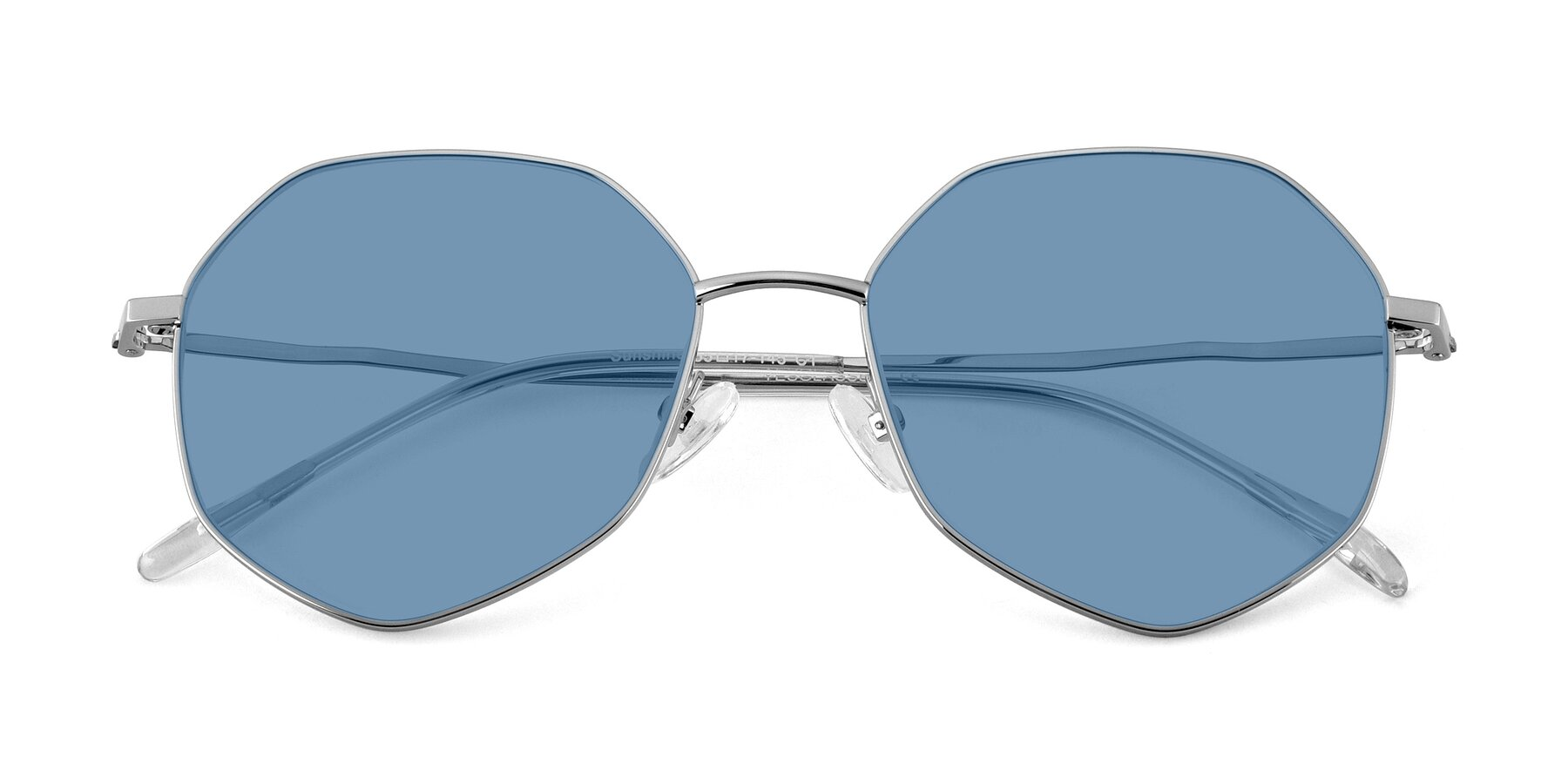 Folded Front of Sunshine in Silver with Medium Blue Tinted Lenses