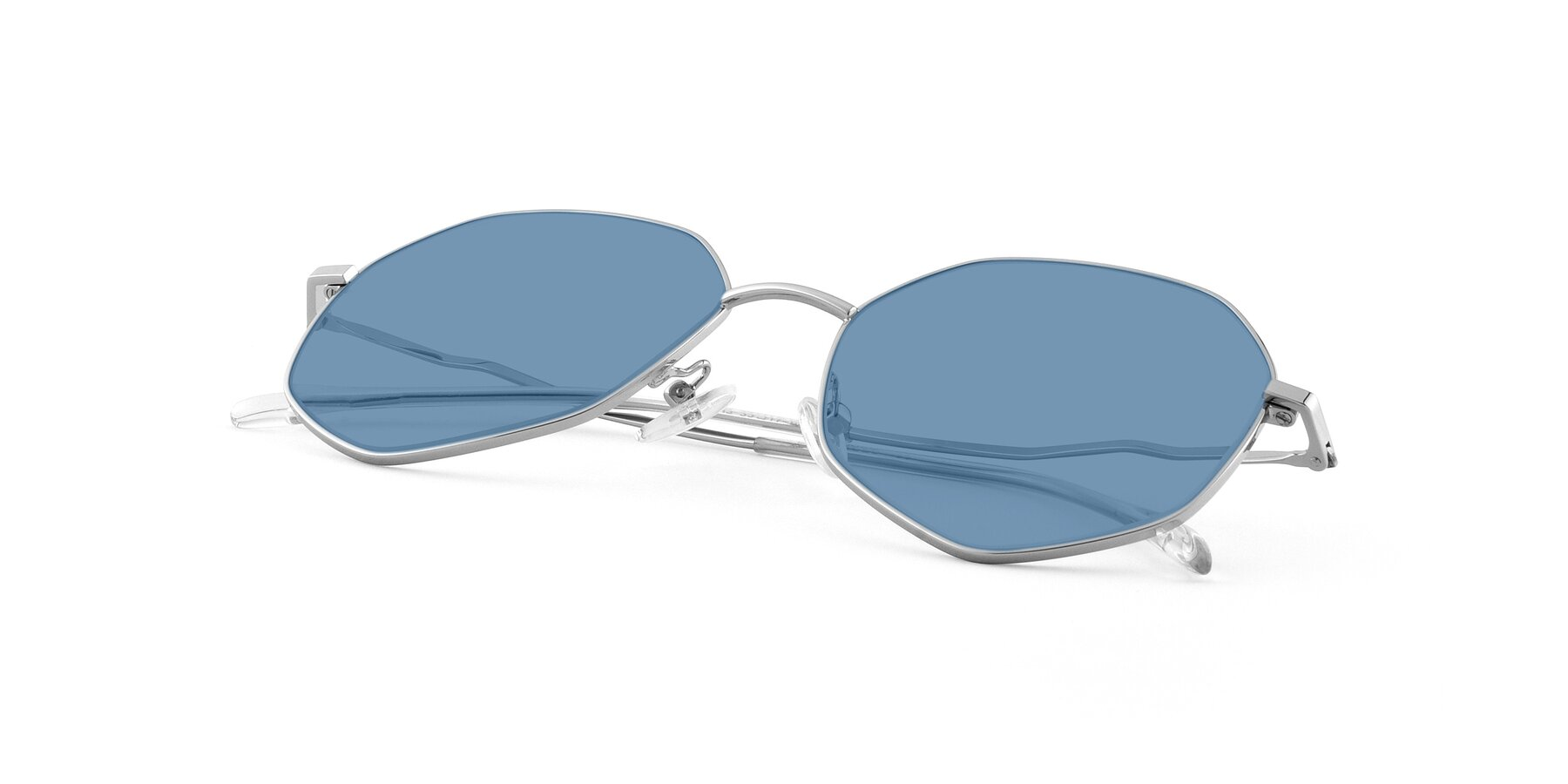 View of Sunshine in Silver with Medium Blue Tinted Lenses
