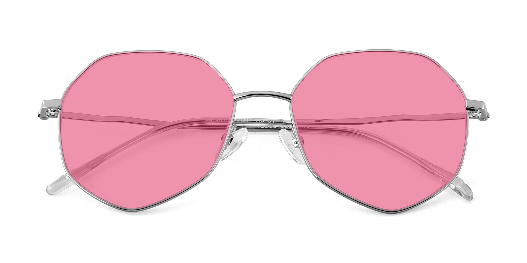 Folded Front of Sunshine in Silver with Pink Tinted Lenses