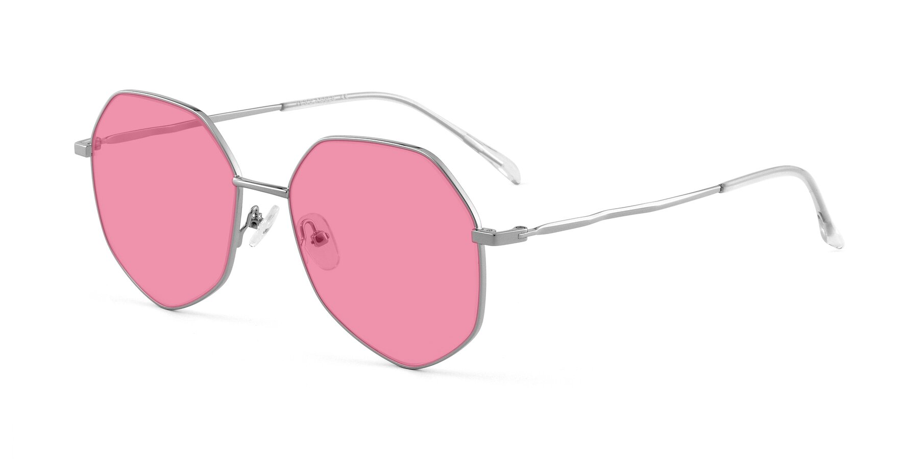 Angle of Sunshine in Silver with Pink Tinted Lenses