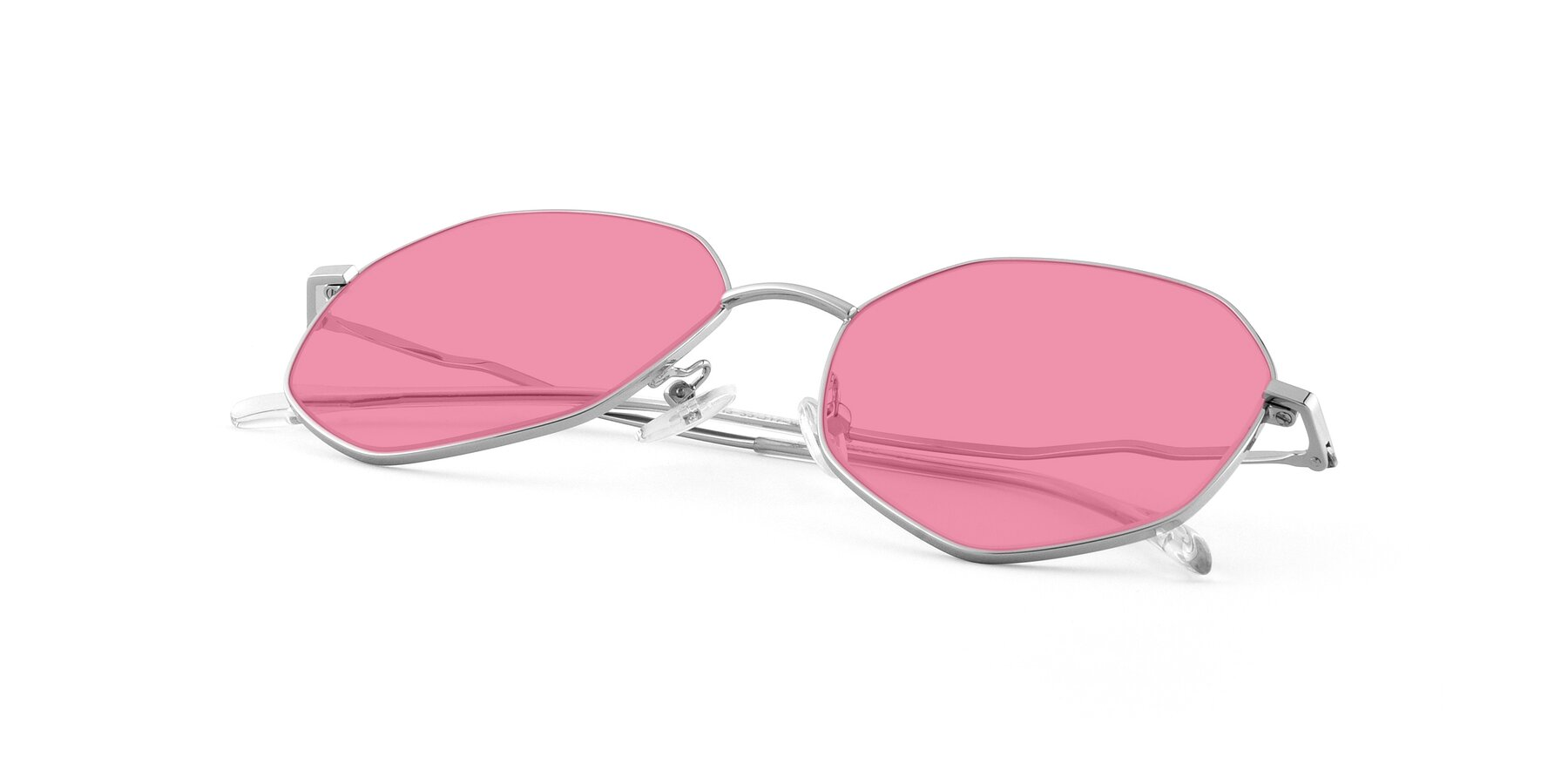 View of Sunshine in Silver with Pink Tinted Lenses