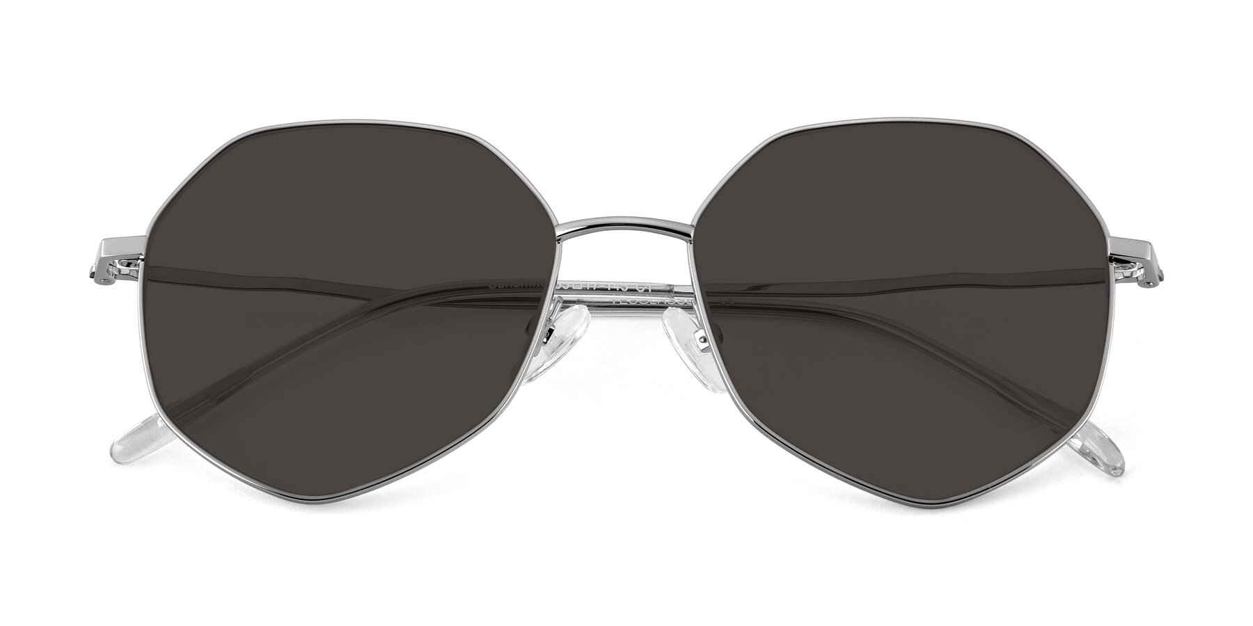 Folded Front of Sunshine in Silver with Gray Tinted Lenses
