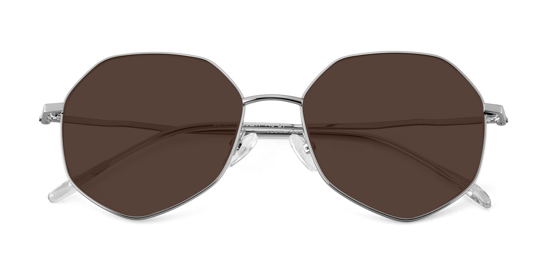 Folded Front of Sunshine in Silver with Brown Tinted Lenses