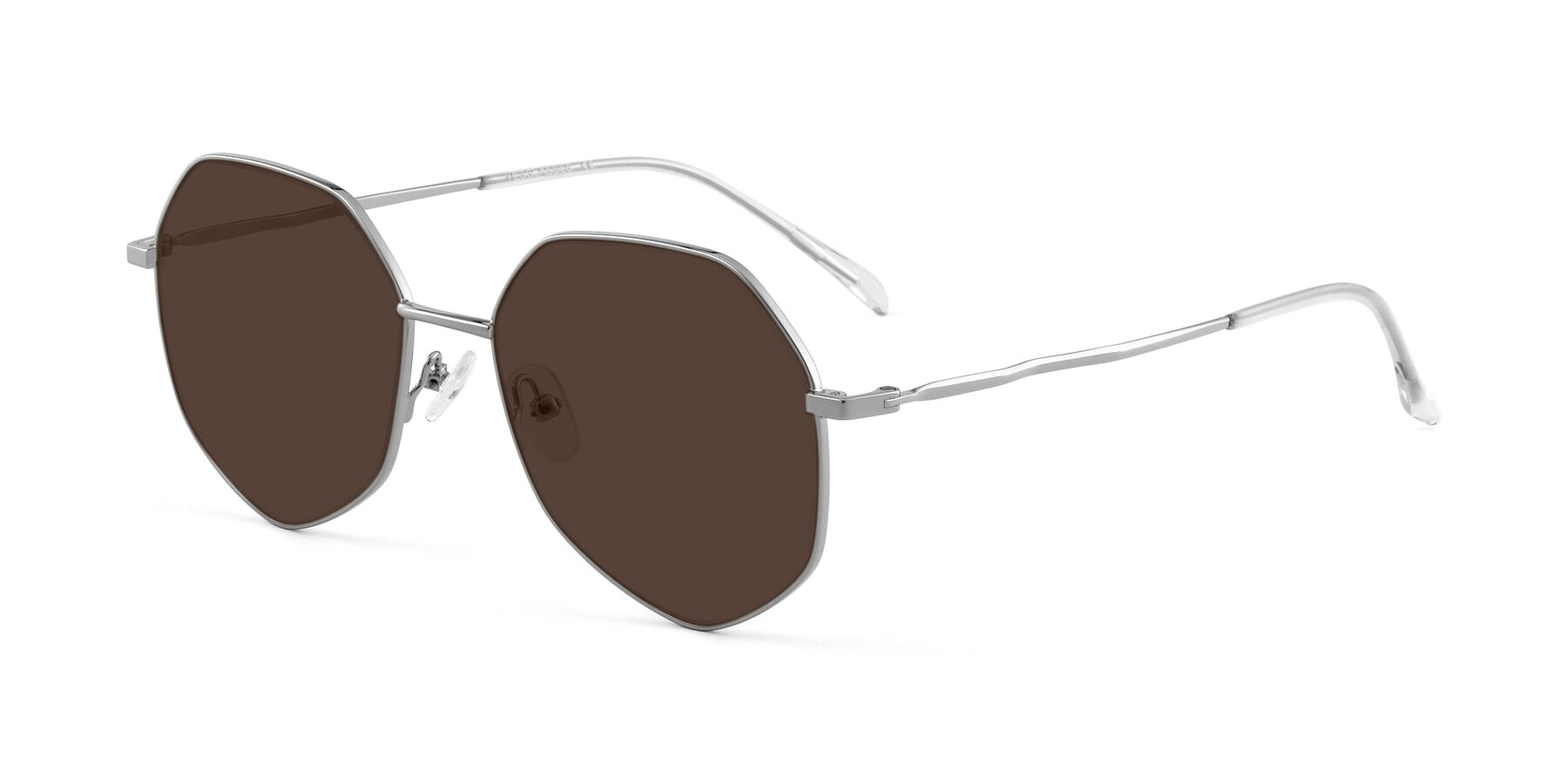 Angle of Sunshine in Silver with Brown Tinted Lenses