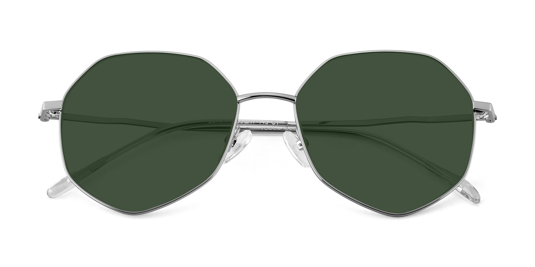 Folded Front of Sunshine in Silver with Green Tinted Lenses