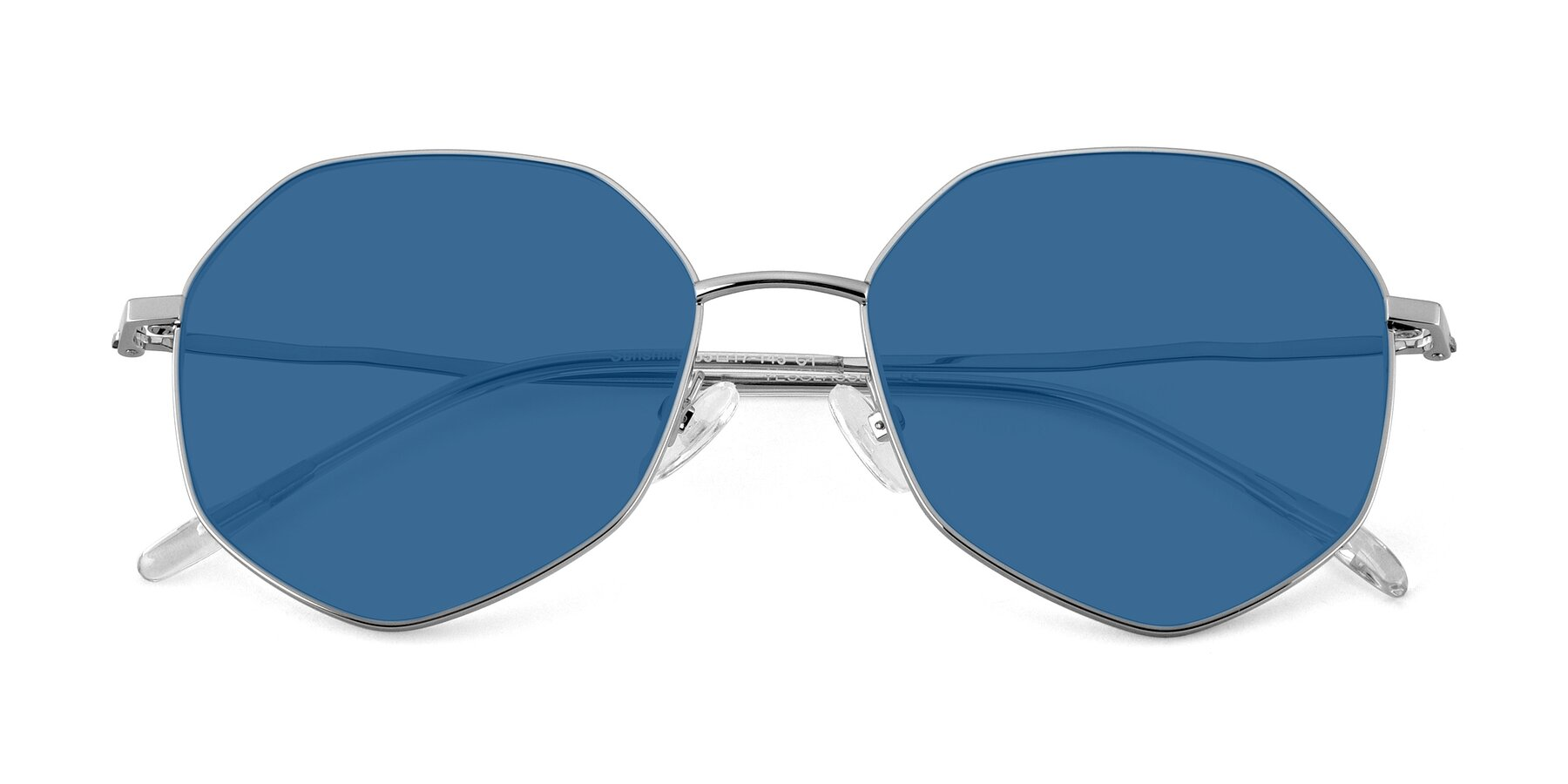 Folded Front of Sunshine in Silver with Blue Tinted Lenses