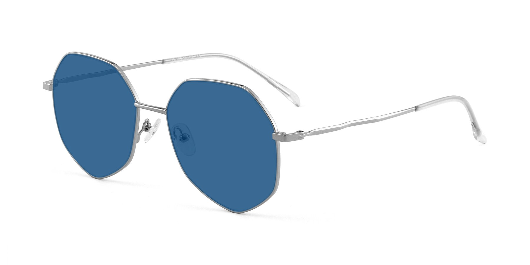 Angle of Sunshine in Silver with Blue Tinted Lenses