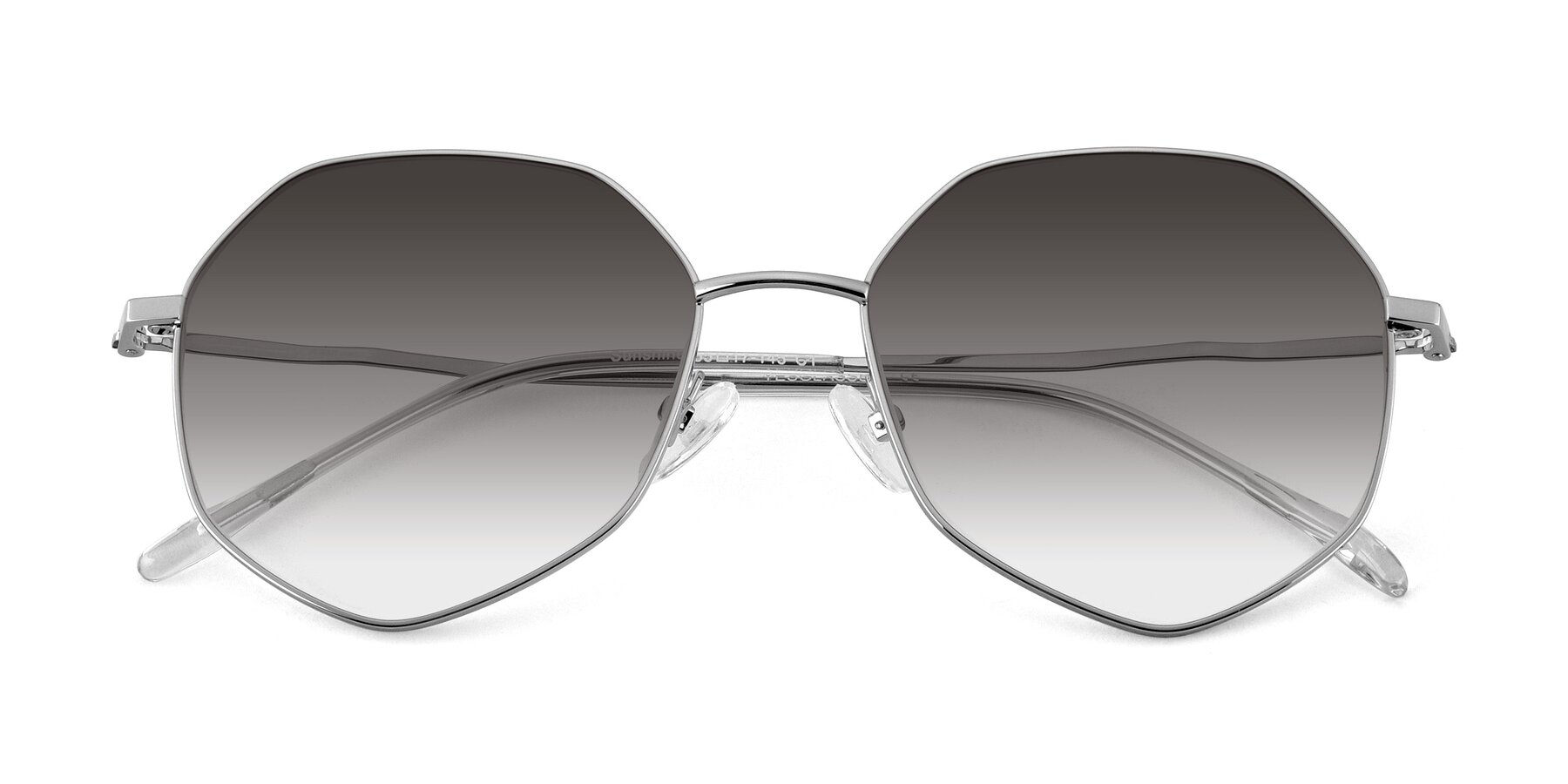 Folded Front of Sunshine in Silver with Gray Gradient Lenses