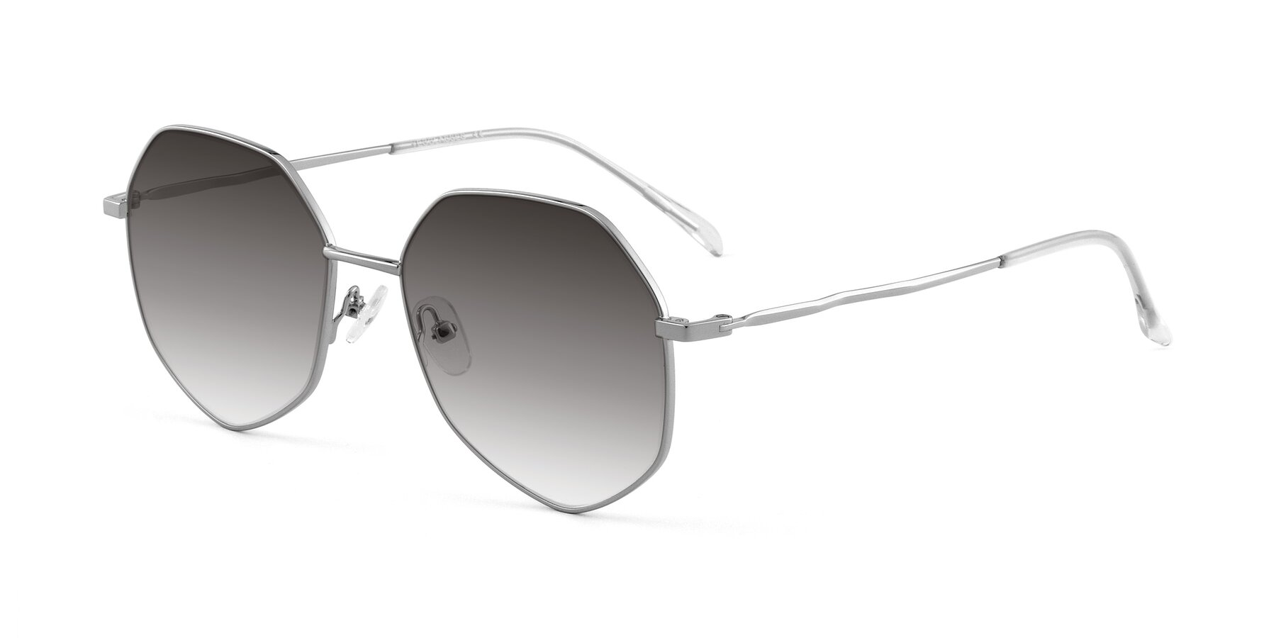 Angle of Sunshine in Silver with Gray Gradient Lenses