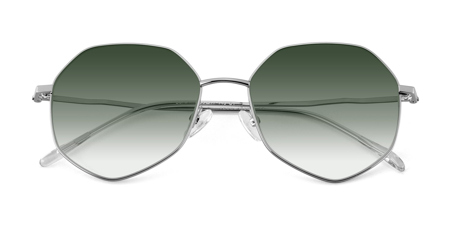 Folded Front of Sunshine in Silver with Green Gradient Lenses