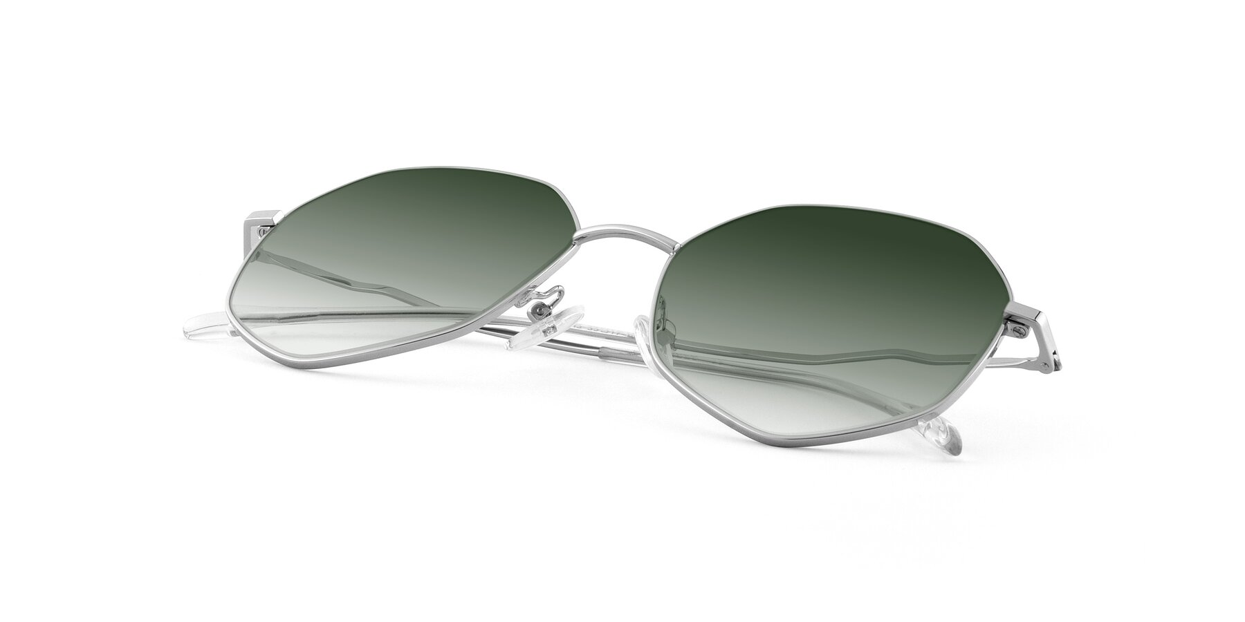 View of Sunshine in Silver with Green Gradient Lenses