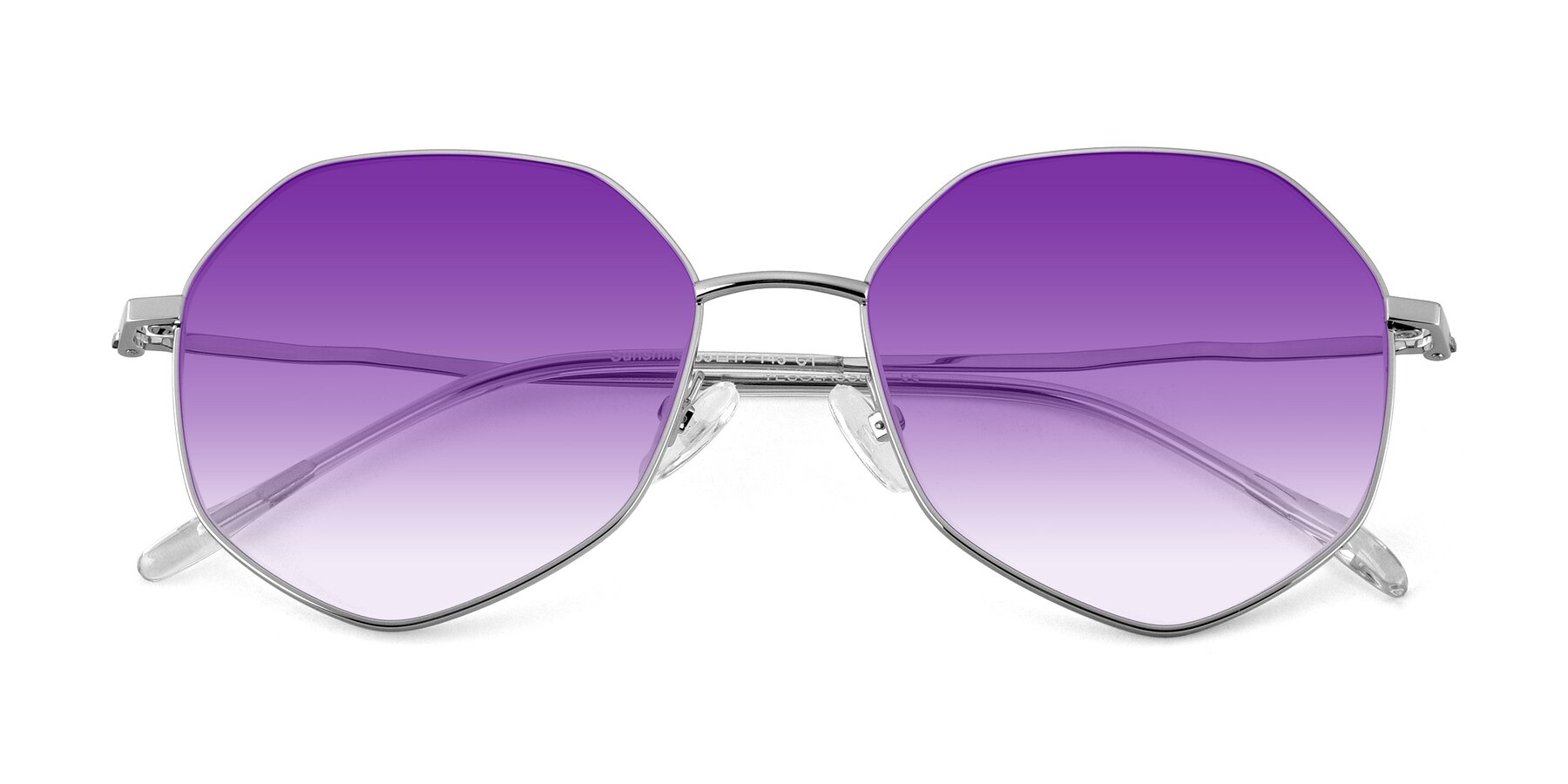 Folded Front of Sunshine in Silver with Purple Gradient Lenses