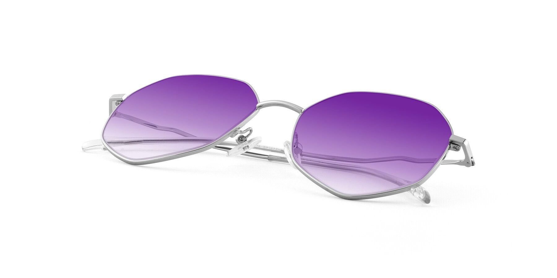 View of Sunshine in Silver with Purple Gradient Lenses
