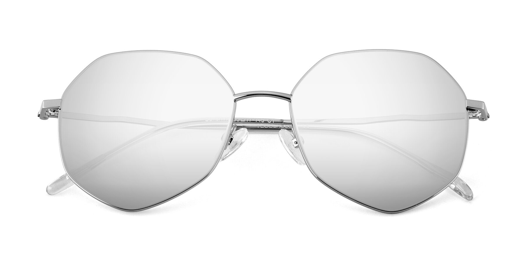 Folded Front of Sunshine in Silver with Silver Mirrored Lenses
